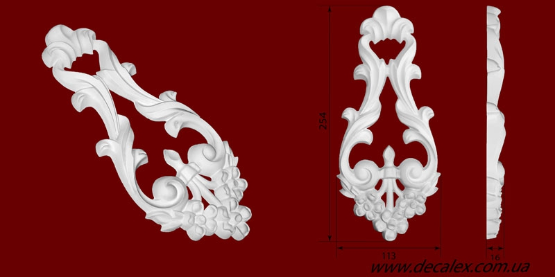 Код товара ФР0050. Орнамент из гипса. Розничная цена 55 грн./шт.